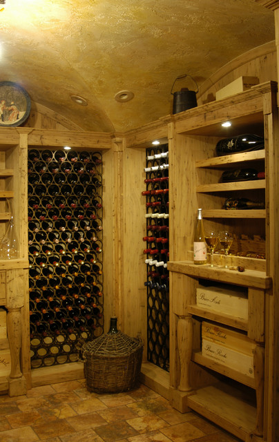 Wine cellar vaulted ceiling mediterranean wine cellar for Cost to build a wine cellar