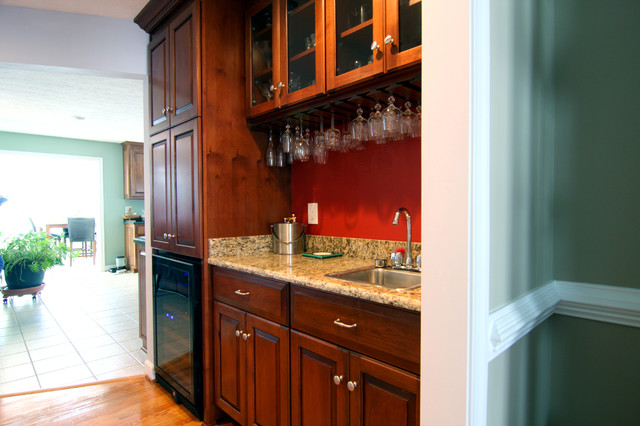 Wet Bar with Custom Cabinetry traditional-wine-cellar