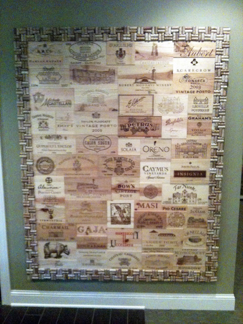 Wine Crate Panel Wall With Cork Frame Eclectic Wine