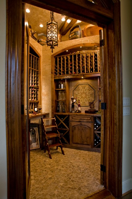 Wine Grotto Created From Unused Closet Mediterranean