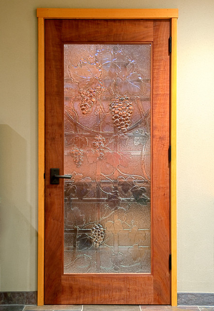 Wine room door slumped recycled glass for Door 00 seatac