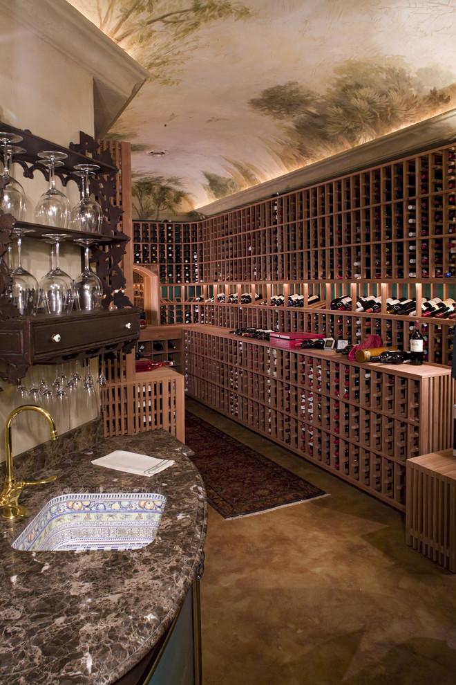 Wine cellar - traditional wine cellar idea in Minneapolis with storage racks