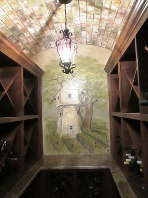 Wine room mural mediterranean wine cellar houston for Wine cellar wall mural
