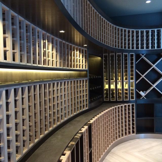 Modern Wine Cellar Houston Wood Racking modern-wine-cellar