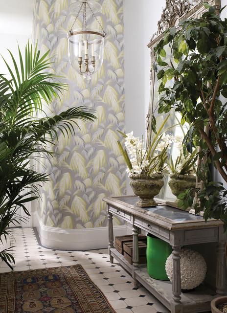 wallpaper tapete floral grau mit farn gelb gr n landhausstil wintergarten berlin von. Black Bedroom Furniture Sets. Home Design Ideas