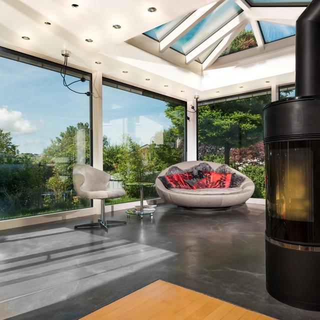 wintergarten modern mit flachdach und kuppel modern wintergarten sonstige von brack. Black Bedroom Furniture Sets. Home Design Ideas