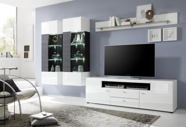 anbauwand nancy wei hochglanz modern wohnzimmer. Black Bedroom Furniture Sets. Home Design Ideas