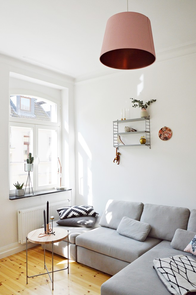 Small danish enclosed light wood floor living room photo in Dusseldorf with white walls