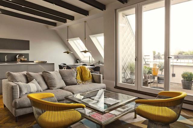 Penthouse Wohnung wohnbereich eklektischer stil dekorationen