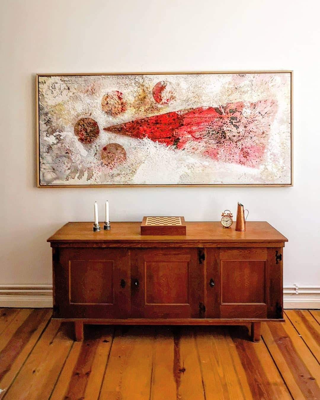 Art meets Designabstrakte Malerei von Felix Schulze  mixed media on wood gerahmt
