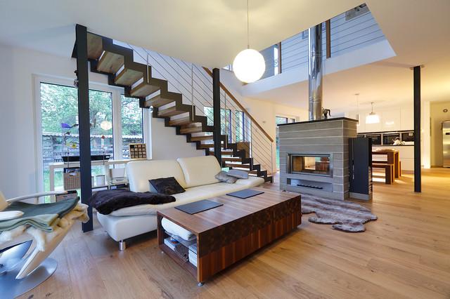 augsburger holzhaus in den stauden modern wohnzimmer. Black Bedroom Furniture Sets. Home Design Ideas