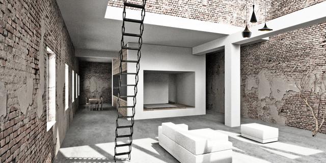 berlin loft industrial living room berlin by marc. Black Bedroom Furniture Sets. Home Design Ideas