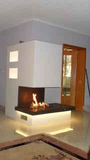 bio ethanol kamin mit indirekter beleuchtung spezialanfertigung modern wohnzimmer leipzig. Black Bedroom Furniture Sets. Home Design Ideas
