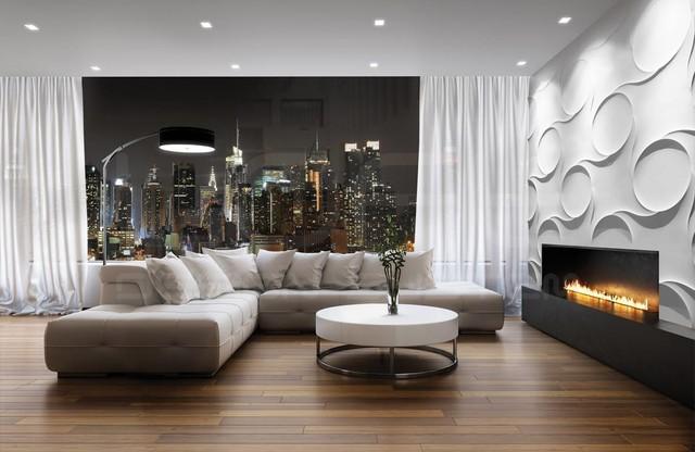 Wohnzimmer Paneele, dekorative 3d paneele als wandverkleidung für einen kamin - modern, Design ideen