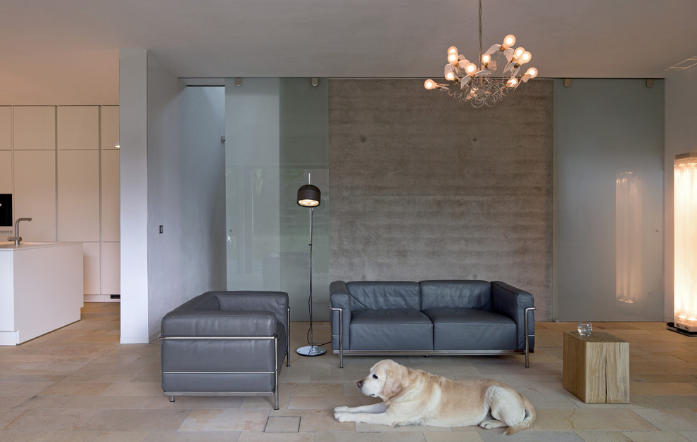 Mid-sized trendy formal and open concept travertine floor living room photo in Munich with gray walls