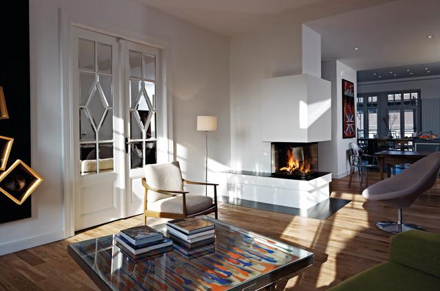 kamin mit 3 sichtseiten modern wohnbereich m nchen. Black Bedroom Furniture Sets. Home Design Ideas