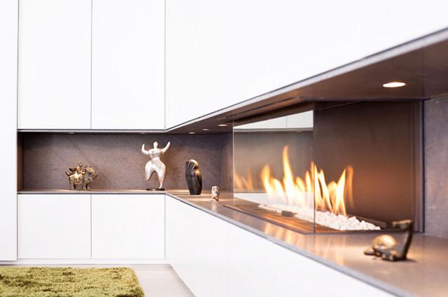 Einbauschrank Mit Gaskamin Modern Wohnbereich