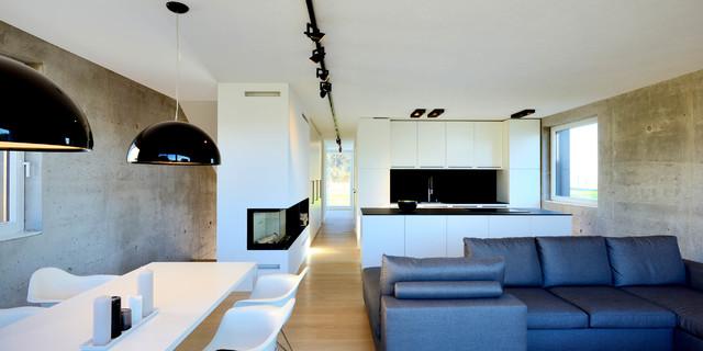 Einfamilienhaus aus infraleichtbeton modern wohnzimmer for Architekten wohnzimmer