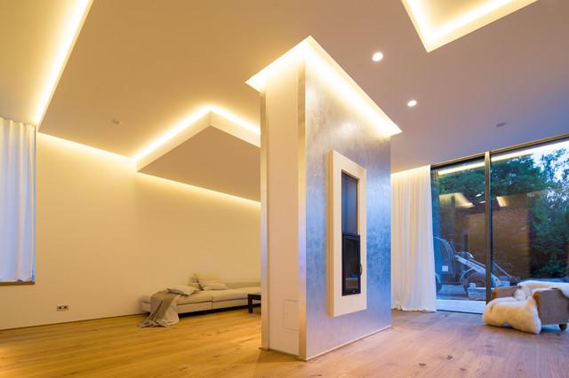 Einfamilienhaus Neubau Modern Wohnzimmer