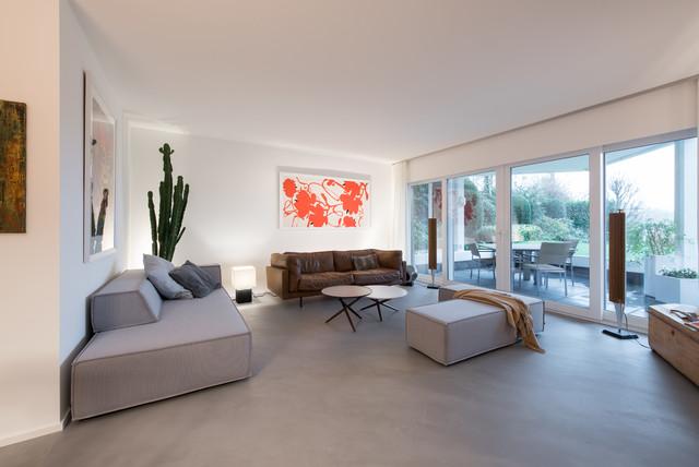 grauer Spachtelboden im Wohnzimmer - Modern - Wohnzimmer ...