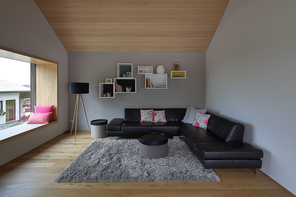 Living room - mid-sized contemporary enclosed medium tone wood floor living room idea in Munich with gray walls and no fireplace