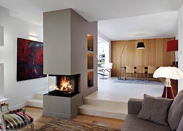 Heizkamin Modern heizkamin mit 3 sichtscheiben contemporary family room munich