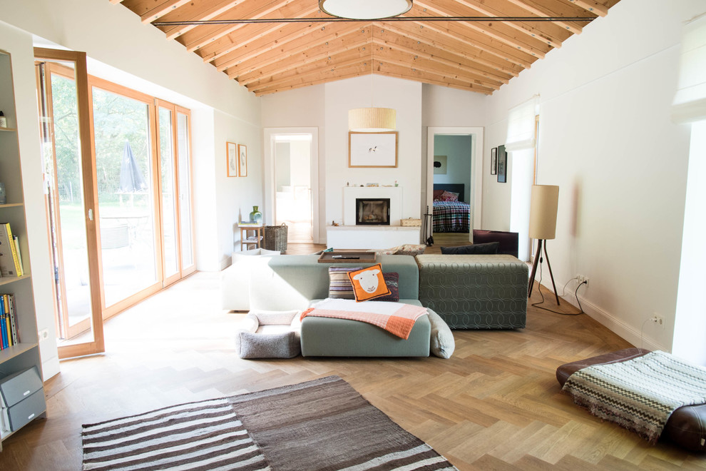 Large transitional enclosed medium tone wood floor family room photo in Berlin with white walls, a standard fireplace, a plaster fireplace and no tv