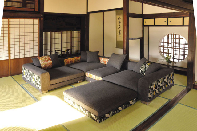 Living room japanese home decoration club for Oriental sofa designs
