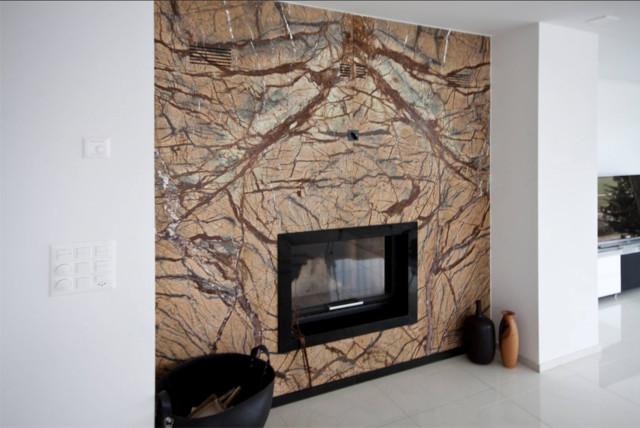 Kaminverkleidung Aus Naturstein Rainforest Brown Modern Wohnzimmer