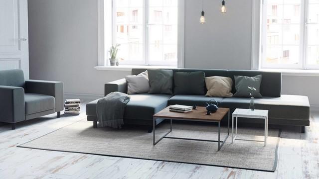 Minimalistisches Wohnzimmer In Gedeckten Farben