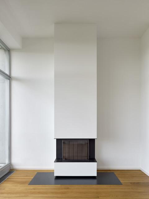 moderner heizkamin in penthouse-maisonette-wohnung, Innenarchitektur ideen