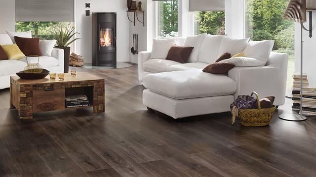 Landhausstil wohnzimmer modern  Modernes Landhausstil Wohnzimmer mit XL-Dielen Laminat Wineo ...