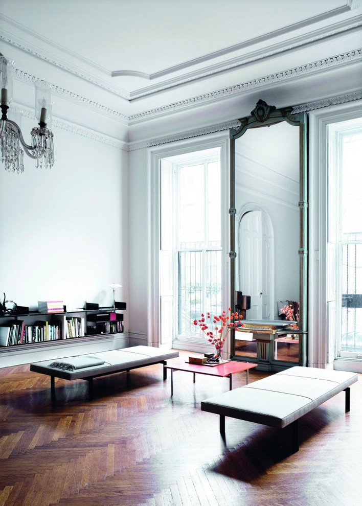 Inspiration for a large eclectic formal and enclosed dark wood floor living room remodel in Munich with white walls