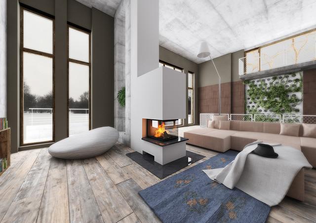 Raumteiler 3seitig mit Holzregal - Modern - Wohnzimmer ...