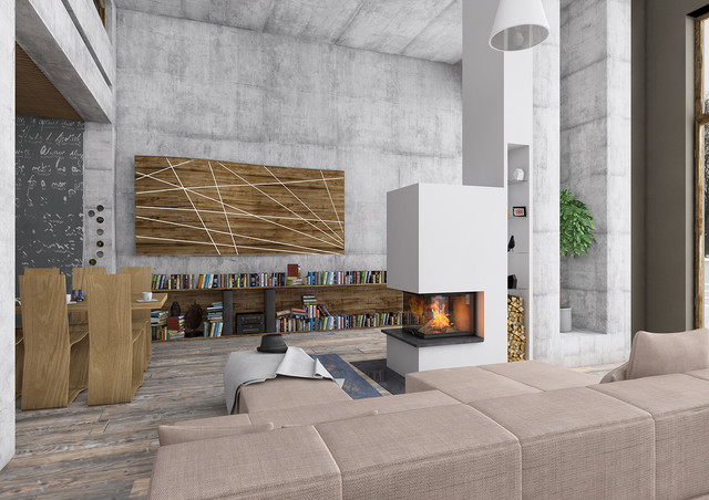 Raumteiler 3seitig mit Holzregal - Modern - Wohnbereich ...