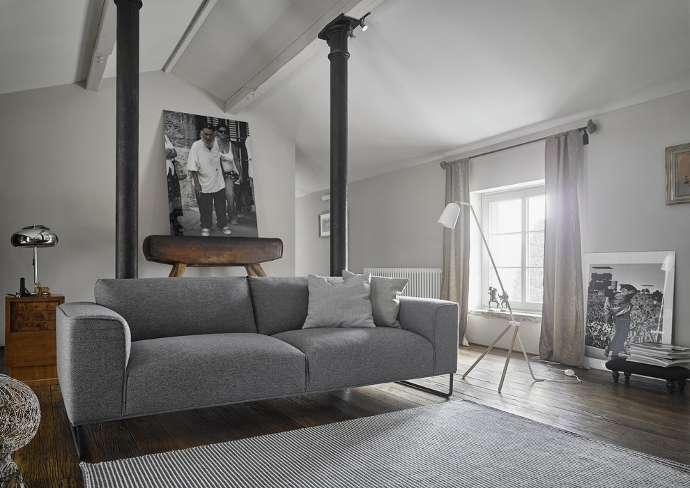 Design ideas for a medium sized scandi enclosed living room in Dresden with grey walls and dark hardwood flooring.