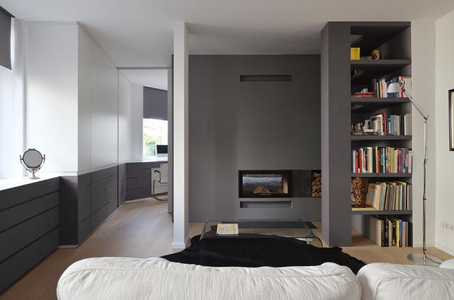 wohnung k49 - wohnzimmer mit kamin - modern - wohnzimmer ... - Wohnzimmer Modern Mit Kamin