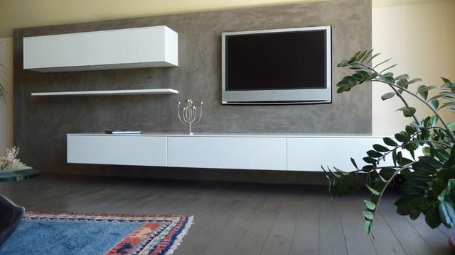wohnwand eyecatcher mit steinputz dsseldorf mediterran wohnzimmer - Stylische Wohnwand