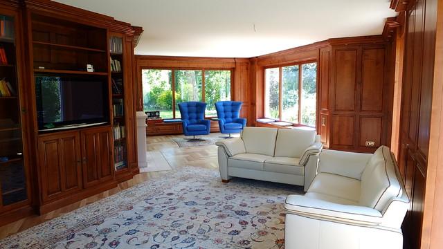 wohnzimmer kirschbaum mit blauen sesseln - landhausstil, Hause deko