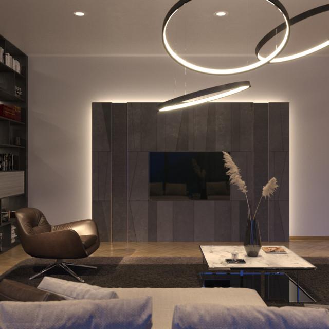 Wohnzimmer Mit Moderner Medienintegration Stadthaus In