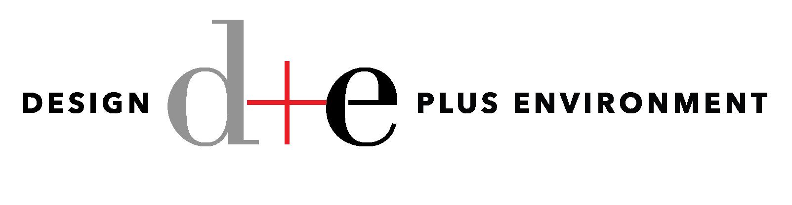 d+e=design+environment Logo